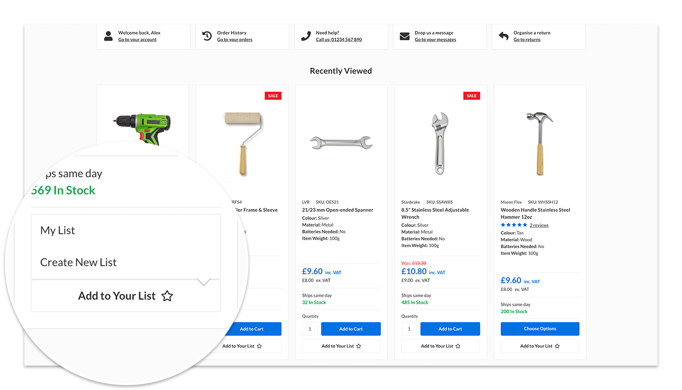 Add to list from product card